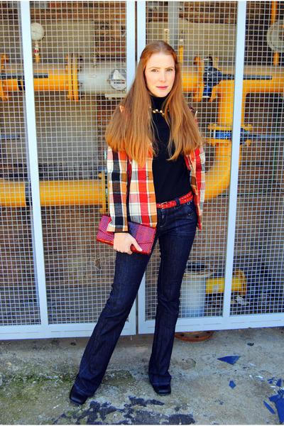 vintage jacket - Topshop boots - G-Star jeans - Zara sweater - handmade bag