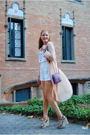 Zara blazer - Furla bag - Zara shorts - Zara wedges - Express blouse