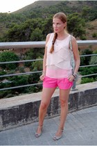 Zara blouse - Zara ss13 shorts - Zara heels