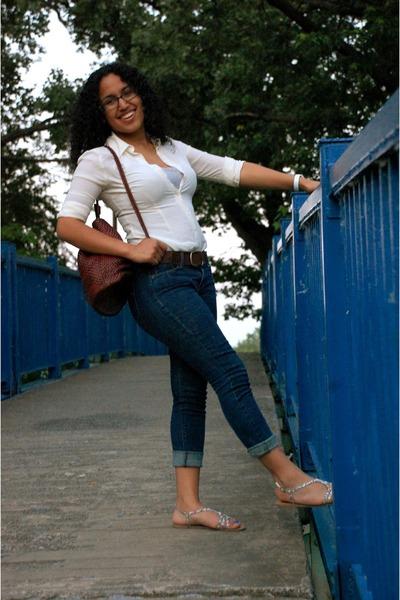 bubble gum PacSun sandals - ivory shirt - dark brown purse