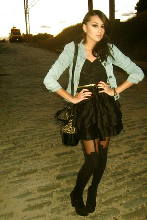 H&M Jacket jacket - Forever 21 shoes - H&M LACE DRESS dress - H&M - black tights