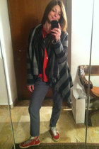 red pull&bear shirt - black leather Riskio jacket - gray H&M pants
