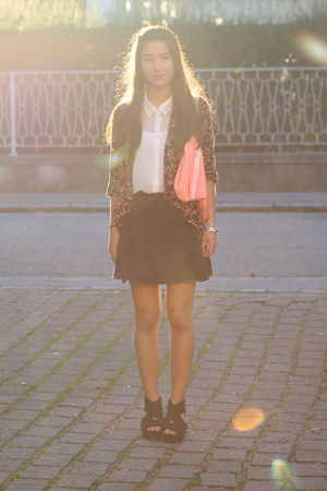 H&M skirt - American Apparel bag - H&M blouse - H&M wedges - no name cardigan