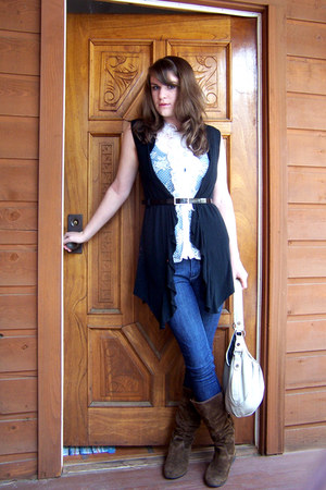 white blouse - black cardigan - black belt - dark brown boots - eggshell purse