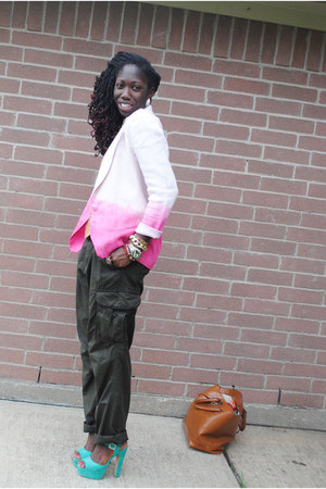 forest green Old Navy pants - pink Judy Hornby blazer - bronze Joe Fresh shirt