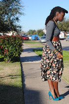 black floral vintage skirt - charcoal gray striped merona t-shirt