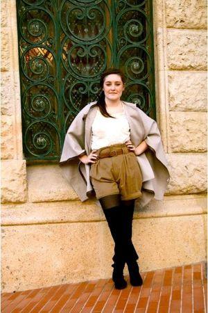 Zara coat - Zara shorts - Zara boots - H&M shirt