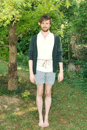 white shirt - navy H&M shorts - navy H&M cardigan
