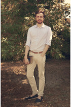 navy espadrilles shoes - sky blue shirt - cream slim Zara pants