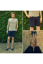 navy Armistice shoes - navy Zara shorts - silver v-neck H&M t-shirt