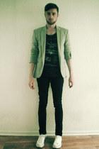 black skinny jeans pull&bear jeans - silver Zara blazer - navy H&M t-shirt