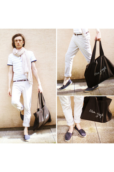 navy espadrilles shoes - tan Galeries Lafayette scarf - eggshell Zara pants