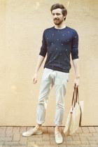beige Bensimon shoes - navy Zara sweater - eggshell slim Zara pants