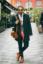 horse Hermes scarf - black asos sunglasses - black leather stephan pelger pants