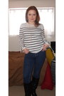 Black-target-boots-navy-bdg-jeans-white-stripes-forever-21-sweater-gold-pe
