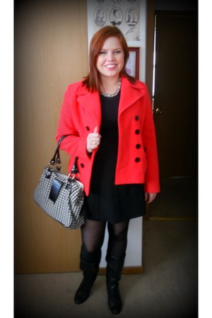 red Marvin coat - black Forever 21 shirt - black Forever 21 skirt - black Expres