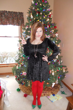 black thrifted dress - red Forever 21 tights - green Charlotte Russe heels - gol