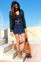 pull&bear boots - H&M dress - New Yorker jacket - Zara bag - Burberry cardigan