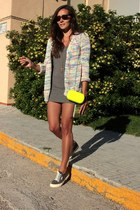 yellow BLANCO bag - blue Superga shoes - pull&bear cardigan