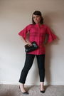 Black-gap-pants-pink-vintage-blouse-black-vintage-bag-black-shoes
