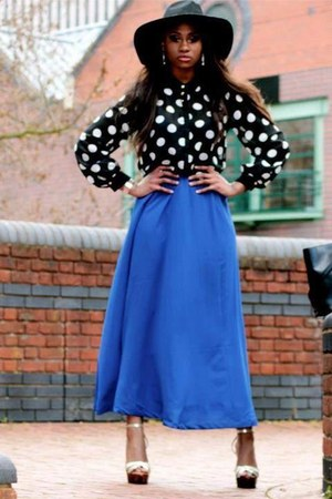 blue Forever 21 skirt - black floppy sun hat warehouse hat