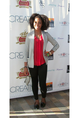 white blazer - black leggings - red blouse - black loafers