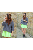 new look boots - Glamorous jumper - Missguided skirt - firmoo glasses