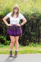 deep purple floral skirt Walmart skirt