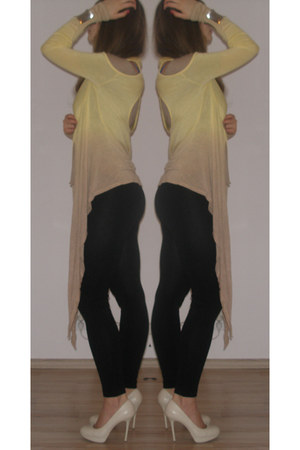 beige - heels - light yellow - sweater - black - leggings - beige - top