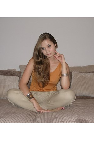 beige - Beige pants - burnt orange - Crimson top - silver - Silver bracelet