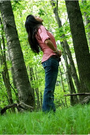 brown Durango boots - blue CurrentElliott jeans - green vintage army jacket - re