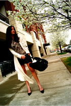 black Iosellianiike and Chris shorts - white DKNY sweater - brown Theory blouse