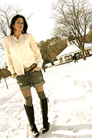 white silk poets JCrew blouse - brown charlye Golden Goose boots