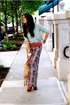 purple What Goes Around Comes Around pants - orange Jessica Simpson shoes - blue