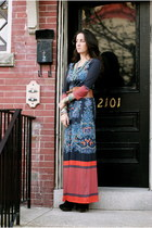 navy Anthropologie dress - tawny linea pelle belt