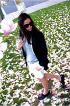 blue JCrew navy blazer - white JCrew shorts - silver t by alexander wang shirt -