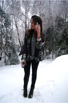army green suede lace-up sam edelman boots - dark gray kimono Zara jacket - blac