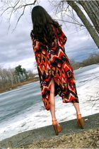 red vintage caftan jacket - orange Jessica Simpson shoes - black Mike and Chris