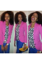 blue Macys pants - bubble gum H&M blazer - light yellow Shoe Dazzle purse