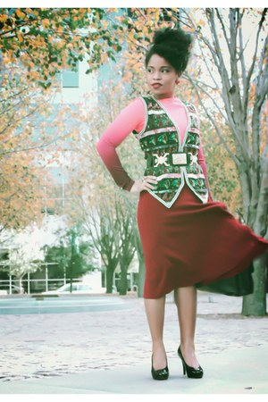 sequined vest - maroon polyester skirt - hot pink spandex top