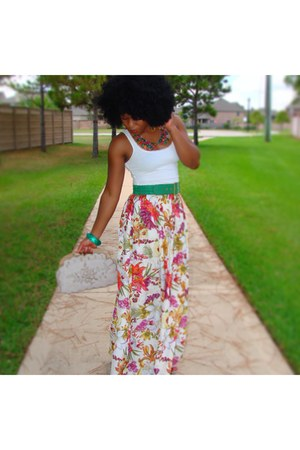 chic Buffalo Exchange skirt - tank top H&M shirt - Forever 21 belt