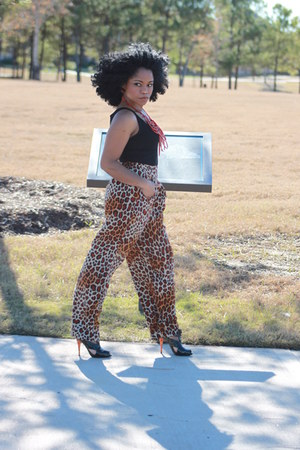 black top - cheetah print pants