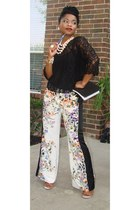 lace H&M shirt - Shoedazzle shoes - comfy Agaci pants