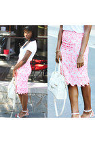 asos skirt - teebasicwhite JCrew shirt - ankle strap calvin klein heels