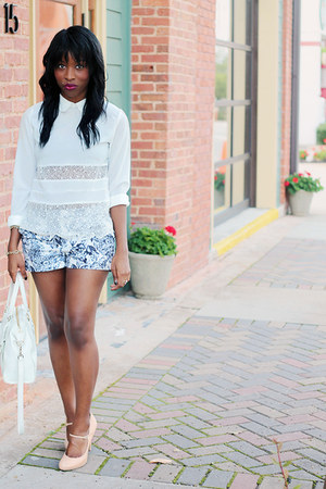 ivory Chicwish shirt - white Cole Haan bag - navy floral brocade H&M shorts