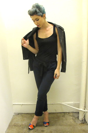 black leather funktional jacket - black tank coincidence & chance shirt