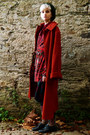 Ruby-red-long-thrifted-coat-ruby-red-bow-second-hand-shirt