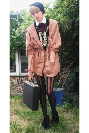 light pink Miss Selfridge coat - black H&M hat - black H&M tights