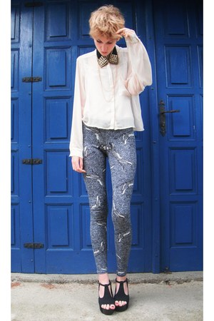 cream H&M shirt - heather gray cheetah printed asos leggings