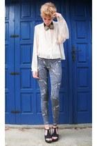 cream H&M shirt - heather gray cheetah printed asos leggings